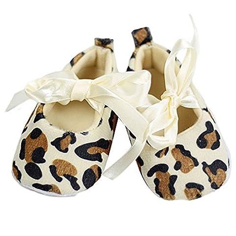 Lsv-8bébé fille Toddler Leopard Semelle souple Chaussures de marche pour nouveau-né (0–6mois)