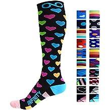 Infinity Calcetines de compresión (1 par) para hombres y mujeres (Spectrum Hearts,