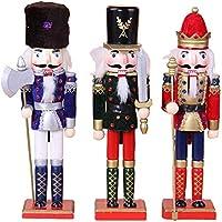 Cascanueces tradicional del rey Soldado Cascanueces De Madera De Navidad   Decoración festiva de la ventana del escritorio del día de fiesta, Decoración navideña infantil, 3 piezas