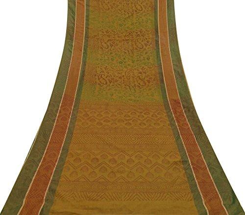 Vintage Kunstseide Saree Paisley Printed Dress machen Brown verwendet Deco Sari 5 Yards Paisley Printed Silk Dress