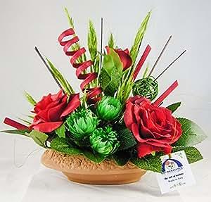 38° Parallelo Creations - Composizione floreale profumata realizzata su ciotola ovale di terracotta decorata - Idea regalo Made in Italy - CLS0200103 ROXELA
