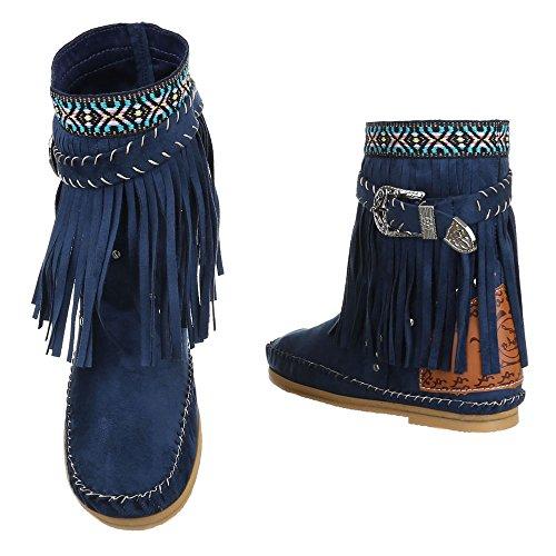 Damen Schuhe, JH30, STIEFELETTEN BOOTS MIT FRANSEN Blau
