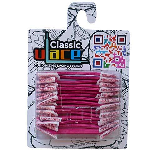 U-LACE - CLASSIC Lacets élastiques multicolores de 7 à 77 ans Adultes Enfants (NEON MAGENTA)