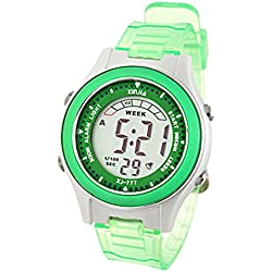 Como Green Digital Cold Light Sports Alarm Wrist Watch for Girls Children