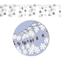 30.4cm x 3m Frozen Snowflake Christmas Wonderland Hanging Dangling Foil Ceiling Hanging Decoration Let it Snow White Silver Snow Flake
