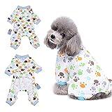 Paw Pyjama vêtement pour chien confortable Puppy Pyjamsa doux Chien JumpSuit pour homme 100% coton Manteau pour petits chiens et chats par Hongyh