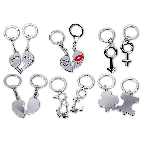2er Set Schlüsselanhänger Anhänger Partneranhänger Partner Symbol silber sortiert 4 cm