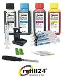 Refill24 Kit de recharge pour cartouches d'encre Canon 545/546/545XL/546XL avec bouteilles d'encre noire et couleur de grande qualité, support et accessoires