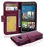 Cadorabo Hülle für HTC ONE (M9) - Hülle in Bordeaux LILA – Handyhülle mit 3 Kartenfächern - Case Cover Schutzhülle Etui Tasche Book Klapp Style