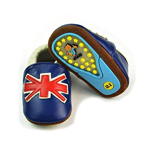 leap frog  Cartoon Leather Sneaker, Baby Mädchen Lauflernschuhe uk-flagge