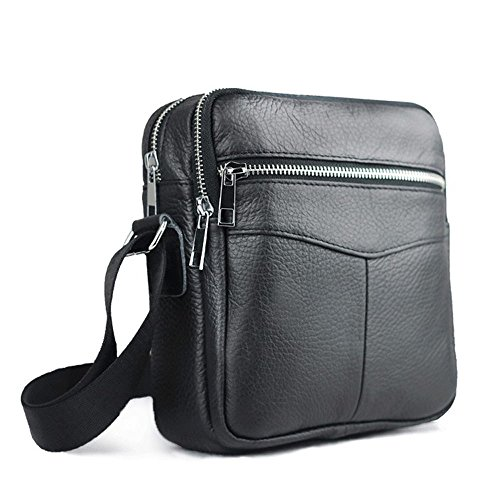Tibes Borsa a tracolla piccola borsa Messenger Bag Men Bag PU Crossbody Nero
