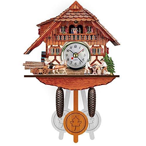 Jaxonn home mini orologio a cucù, casa foresta nera con chopper legno e la ruota del mulino (color : a)