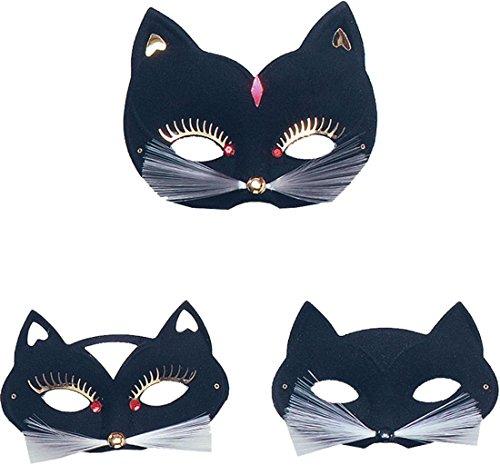 Erwachsene Fancy Party Kostüm Tier Masquerade Ball Katze Domino Augenmaske UK Gr. Einheitsgröße, schwarz (Schwarze Domino Kostüme)