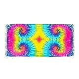 ManuMar Damen Sarong | Pareo Strandtuch | Leichtes Wickeltuch mit Fransen-Quasten (L: 115 x 225 cm, Blau Lila Pink Gelb Hellblau)