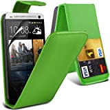 ( Green ) HTC One M7 Premium Faux Kredit / Debit-Karten-Slot Leder Flip Case Hülle & LCD-Display Schutzfolie by Fone-Case