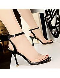 3136cc5d6209 LGK FA Quadratische Kopf ist Hohl und Transparent mit Sandalen Damen  Banquet Schuhe Füße mit Weingläser und