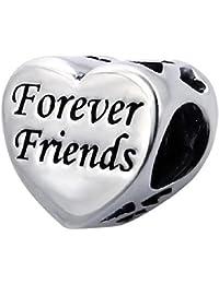 So Chic Joyas - Abalorio Charm Corazón amistad siempre amigo - Compatible con Pandora, Trollbeads, Chamilia, Biagi - Plata 925