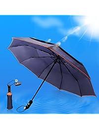 HooYL paraguas automático y plegable,resistencia contra el viento,medidas compactas para viaje,con botón de apertura automático,alta calidad en su tela con Dupont Teflon 190T (azul)