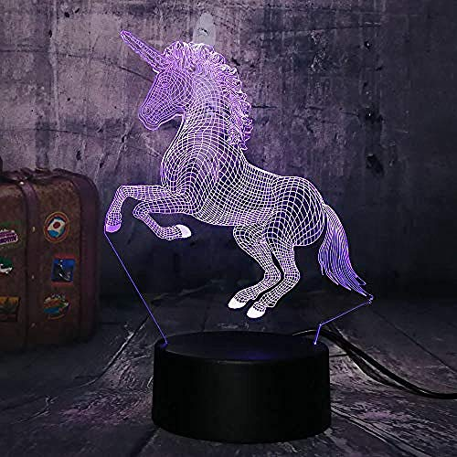 Romantique Belle Licorne 3D LED Night Light Lampe de bureau Cadeau Romantique 7 Couleur Change Room Decor Lustre Holiday Girlfriend Enfants Jouets (Licorne)
