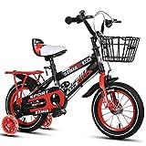 Kinderfahrräder , 2-9-jähriges Kinderfahrrad, Jungen-Mädchen-Pedal-Dreirad, Rahmen aus kohlenstoffarmem Stahl, Silent-Flash-Assist-Rad, 4 Größen (12 Zoll / 14 Zoll / 16 Zoll / 18 Zoll) Rot