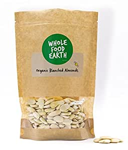 Wholefood Earth: Organic Blanched Almonds 500g | Raw | GMO Free Suitable for Vegans & Vegetarians