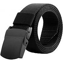 Tinksky Cinturón militar de los hombres de la correa ajustable Cinturón táctico al aire libre ajustable con la hebilla plástica, regalos del día de padre o regalo para los hombres (negro)