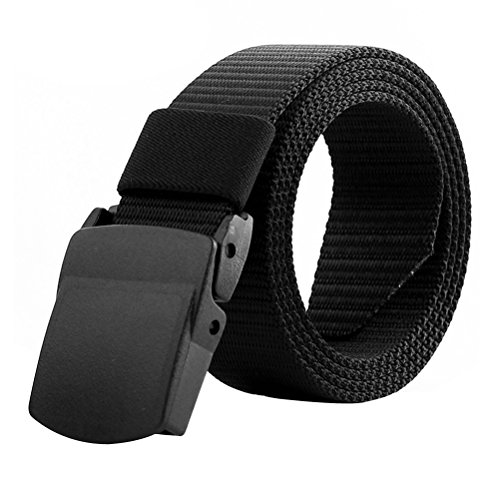 Tinksky Adjustable Strap Men's Military Belt Adjustable Outdoor Tactical Belt with Plastic Buckle, Father's Day Gifts or Gift for Men (Black)
