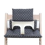 Blausberg Baby - Sitzkissen Kissen Polster Set für Stokke Tripp Trapp Hochstuhl- Einheitsgröße, Dunkelgrau Sterne