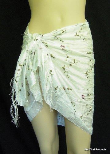 BTP Floral élégant brodé Thai Silk Écharpe/foulard de soie lisse cadeau Blanc - Blanc