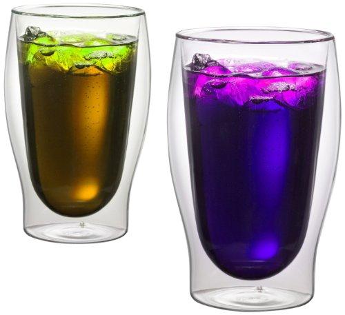 1aTTack.de 833222 Trink/Thermo-Glas 450 ml XXL doppelwandig Modell Lilly für Heiß- und Kaltgetränke, 2-Stück