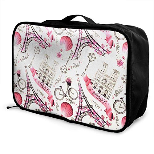 GepäckträgertaschenGepäck ReisetascheLuggage Duffel Bag for Women Girls Pink Eiffel Tower Balloon Large Capacity Portable Weekend Bag Overnight Tote Bag (Eiffel Tower-bild-halter)