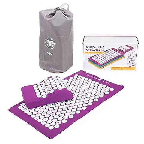 Kit d'acupression VITAL aubergine : Tapis d'acupression 74 x 44 cm aubergine + Coussin d'acupression 33 x 28 cm
