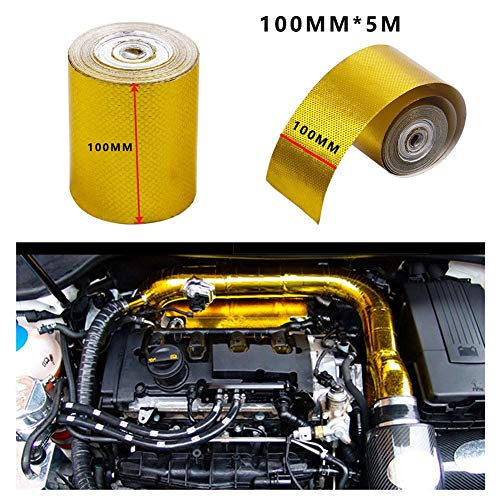 CWeep Sealing Foil Sealing Insulation Tape Automotive Exhaust Pipe Decorative Tape Heat Shield Wrap Tape Gold Aluminum Foil Tape (B:100mm*5m)