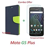 YuniKase (COMBO OFFER) for Motorola Moto G5 Plus / Moto G5 Plus - - - Fancy Wallet Flip Cover Case (Blue,Green) + Premium Screen Guard Tempered Glass Protector - - - ( Transparent )