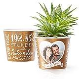 22. Hochzeitstag Geschenk – Blumentopf (ø16cm) | Geschenkidee zur Bronzehochzeit für Mann oder Frau mit Herz Bilderrahmen für 1 Foto (10x15cm) | Glücklich Verheiratet - 22 Jahre