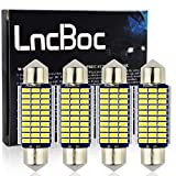 LncBoc 39mm 1.53'' Festoon LED C5W Bulbs 30-SMD 3014 LED White Replacement Bulb With Aluminium Sink for Car Interior Dome Light License Plate Trunk Light DC 12V 39mm Pack of 4