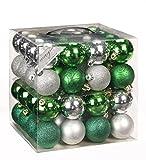 64x Kunststoff Christbaumkugeln Ø 6cm Kugel Box Glanz Glitzer Matt Dekor Inge, Farbe:Grün-Silber