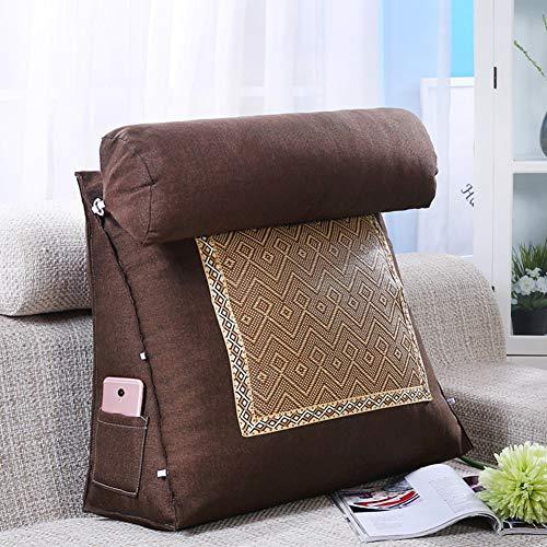 XAWV Bett-Kissen-Pillow-Dreieck-Dreieck Rückenstütze und Knie-Prop up Ideal für die Lektüre von Hilfen mit Acid Reflux,Brown1,60x50x20cm