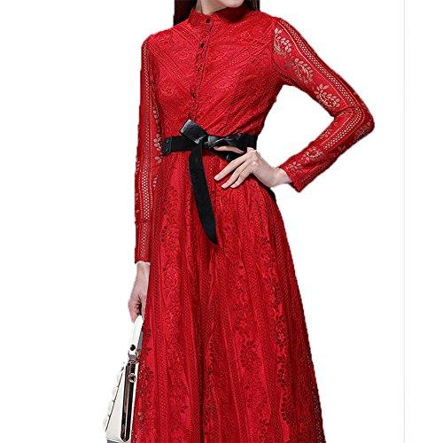 YUYU vestiti del merletto delle donne di estate La lunghezza media modo del vestito di colore solido manica lunga , wine red , l