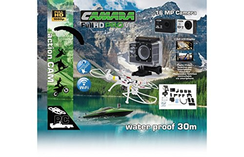 Jamara 177890 Camara Full HD Pro Wifi V2 Schwarz – 16MP, 1080p, 170° Weitwinkel, Wasserdicht bis 30m, 2 Zoll LCD-Display, Foto/Video Funktion Per Smartphone Steuern, Inkl. Sämtlichen Halterungen