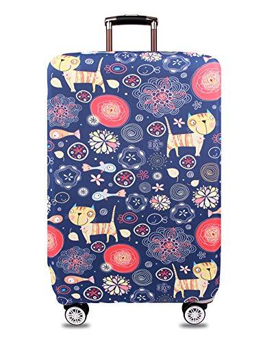 ZIXINGA Gepäckschutzhülle aus elastischem Reisekoffer Schutzhülle aus elastischer, staubdichter Reisetasche für 26 '' - 30 ''Zoll (Abbildung Katze, M)