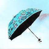 En paraguas de vinilo UV protección solar dama Graffiti Umbrella tres paraguas plegables en el sol ( Color : Blue1 )