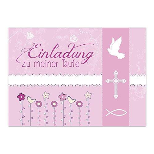 15 x Einladung zur Taufe / Einladungskarten mit Umschlag im Set / Einladung zu meiner Taufe Rosa Modern / Baby Taufkarte / Grußkarte / Postkarte /