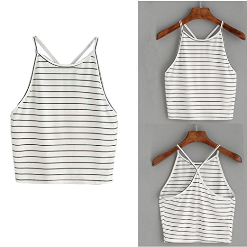 Wawer Women s Vest Tops  Women Striped Tank Top Sleeveless T-Shirt Tops Great For Sports Dance Club Party Daily Beach  L  White