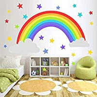 Bamsod Wall Sticker Rainbow Wall Decal Art Girls Star Bedroom Nursery Home Decor 16.5x32.6 inch