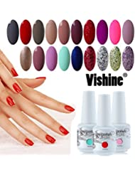 [298 Coloris disponible] Vishine Lot de 22 Flacons Vernis Gel Semi-Permanent(20 couleurs + Base Top Coat Kit ) Vernis à Ongles UV LED Soak Off 22pcs 8ml