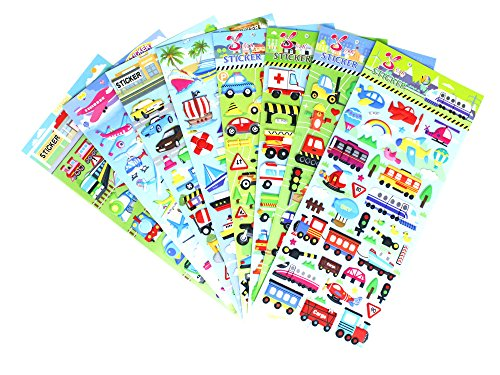 transportation-car-stickers-8-sheets-with-car-airplane-steamship-train-motorcycle-pvc-transportation