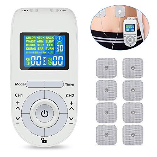 Electroestimulador Muscular, Masajeador y estimulador de pulsos TENS/EMS, Reduce Dolor de Espalda, Cuello...