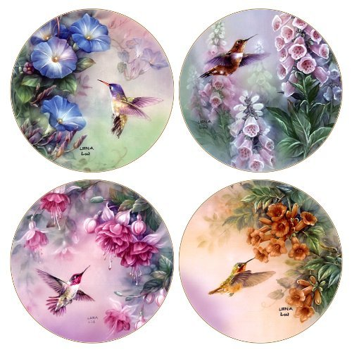 CoasterStone AS8050 Absorbent Coasters, Hummingbird Assortment, 4-1/4-Inch, Set of 4 by CoasterStone Hummingbird Coaster