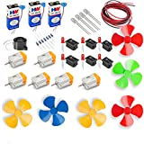 #5: 6Pcs DC Motor Mini Electric Motor 0.5-6V 15000RPM High Torque Magnetic Motor with 6 Propeller/9V Battery with Snap 3pcs/6 rocker Swichs& 10 LEDs/resistors/buzzer/1 meter wire